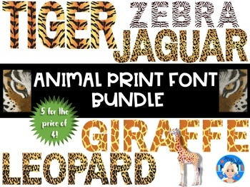 Animal Print Letters and Numbers Font Clip Art BUNDLE.