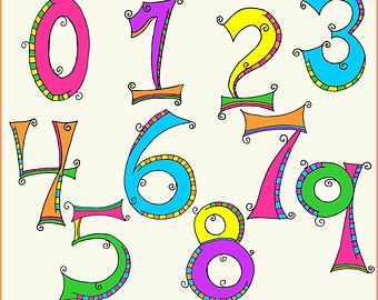 Leopard Print Numbers Clipart.