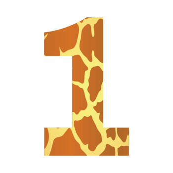 Giraffe Animal Print Letters and Numbers Font Clip Art.