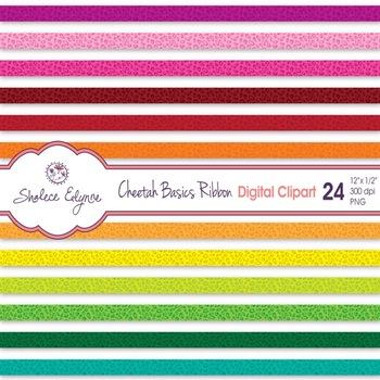Cheetah Ribbon Digital Clip Art.