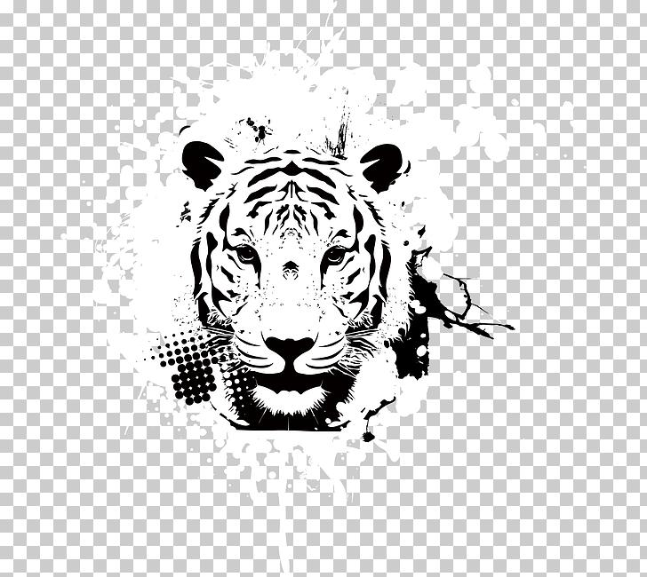 Tiger Art , Animal print PNG clipart.