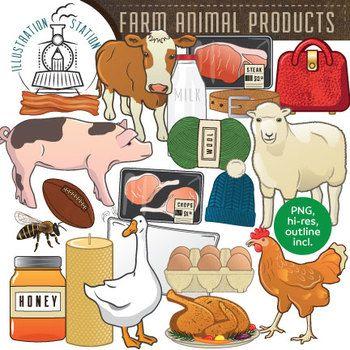 Farm Animal Products Clip Art.