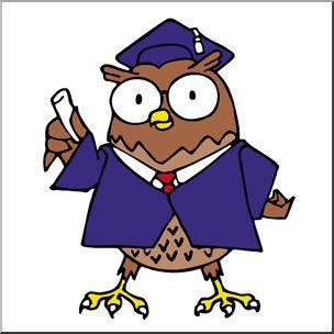 Clip Art: Cartoon Professor Owl Color.