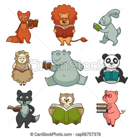 Cartoon animals reading books vector kid design.