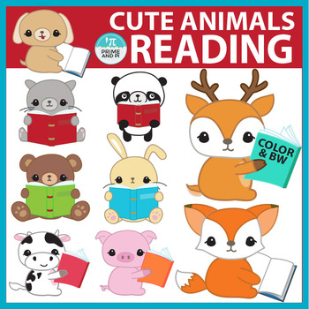 Reading Clip Art: Cute animals reading books.