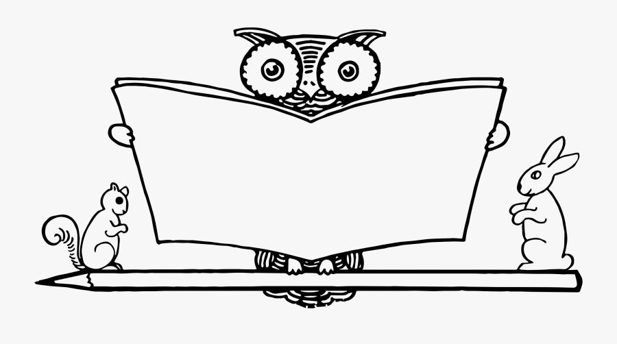 Owl Reading Clipart Black And White , Free Transparent.