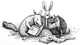 Illustration of animals reading books.