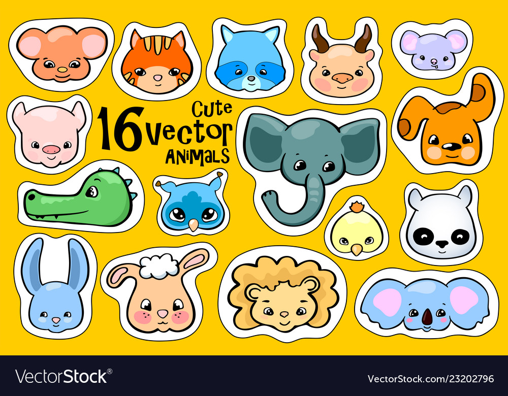 Colorful animal face stickers cute animal clipart.