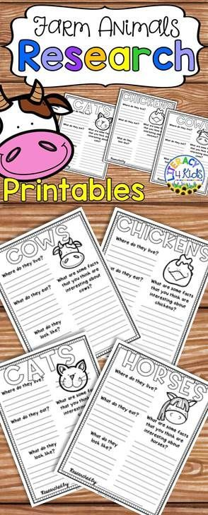 Farm Animals Research Project Templates for Grades 1.