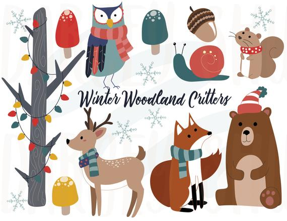 Winter woodland critters clipart, Winter animals, Christmas.