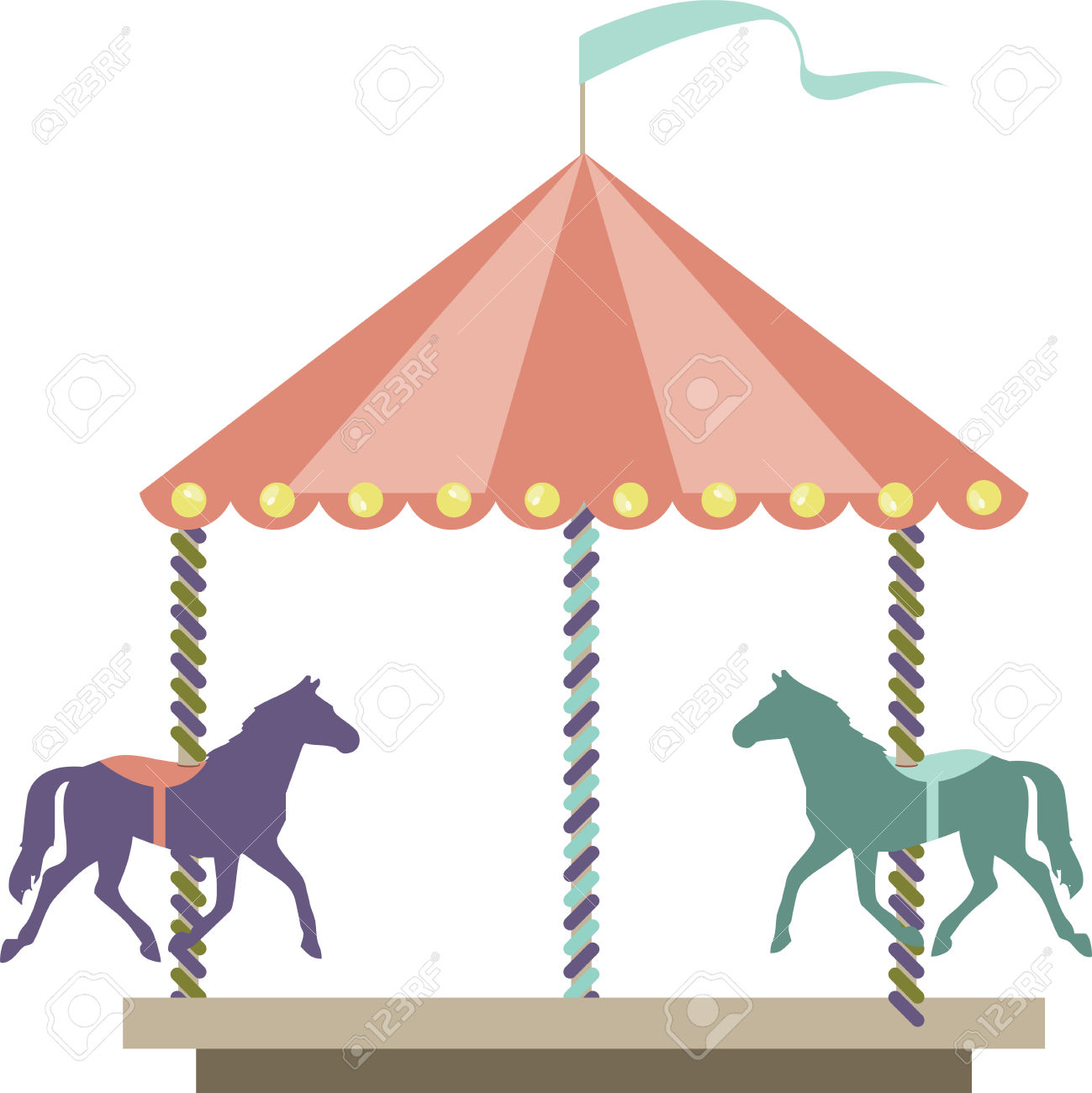 Carousel Amusement Park Or Carnival Ride With Colorful Horses.