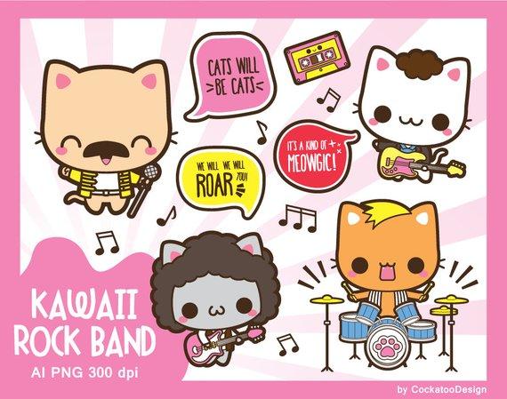 Kawaii clipart, rock star clipart, rock band clipart, kawaii.