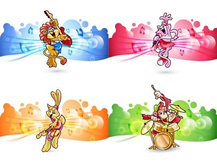Children Vector Animals Rock Band vector file for free.