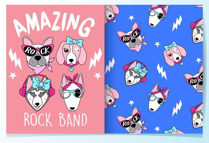 Hand drawn cute dog rock band with pattern set.