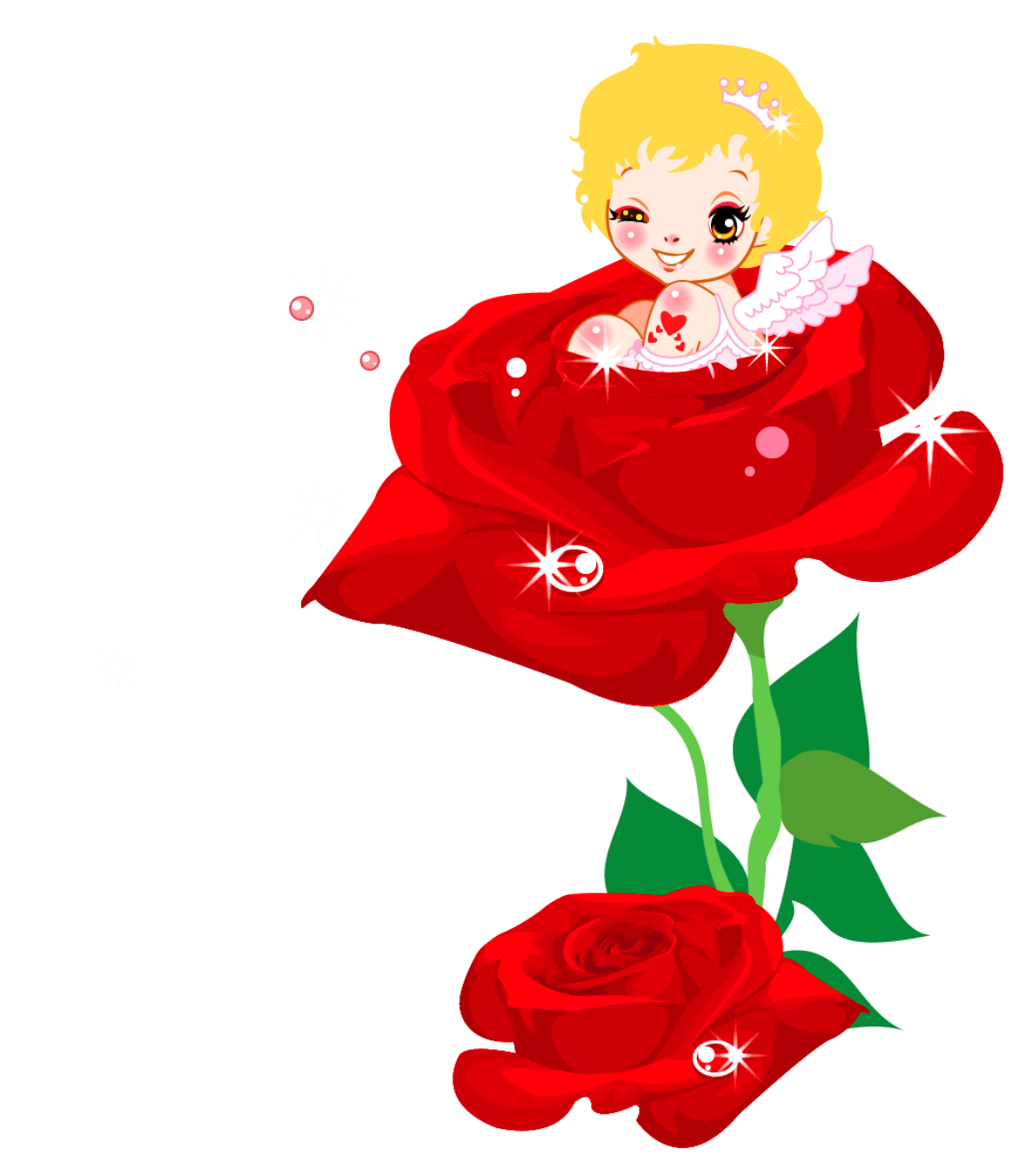 Valentines Cute Cupid and Rose PNG Clipart Picture.