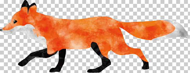 Watercolor painting Fox Animal, Run the fox PNG clipart.