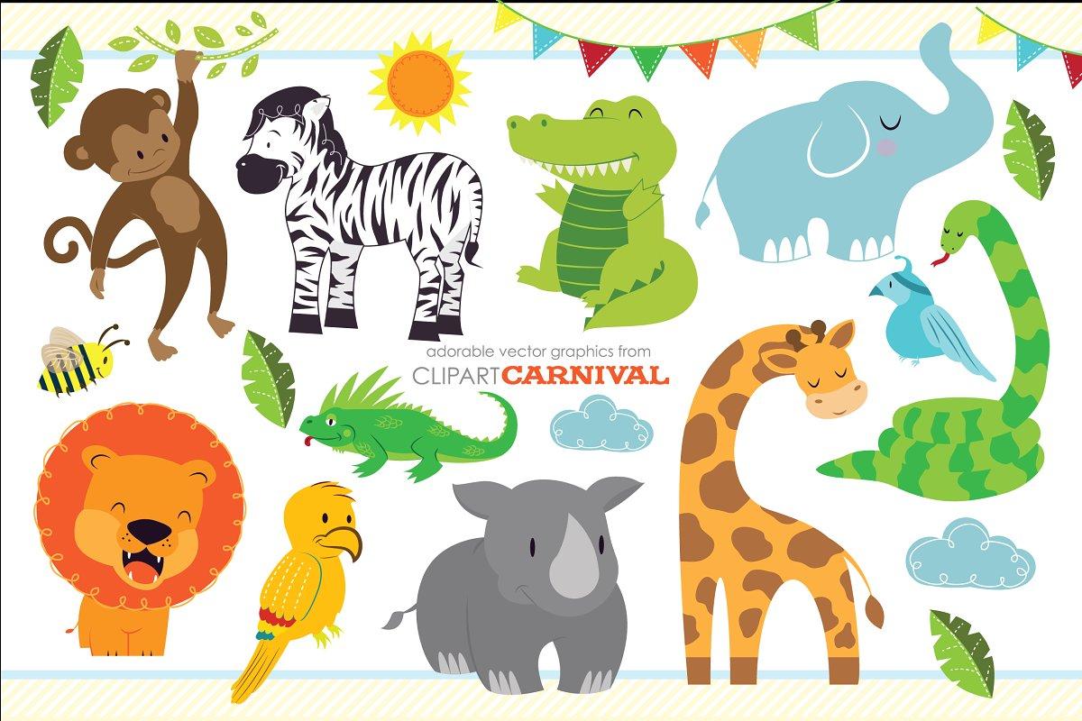 Cute Baby Jungle Safari Animals Art.
