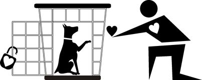 Clipart dog in cage.