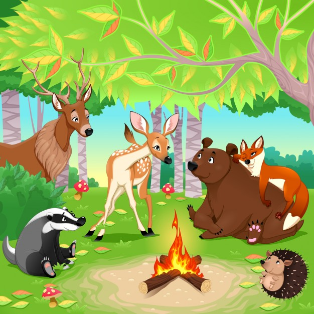 Pretty scene with animals in a forest.