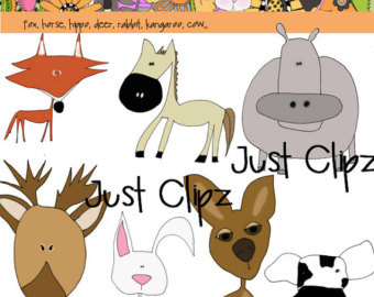 Digital Clipart Dog Head Shots by JustClipz on Etsy.
