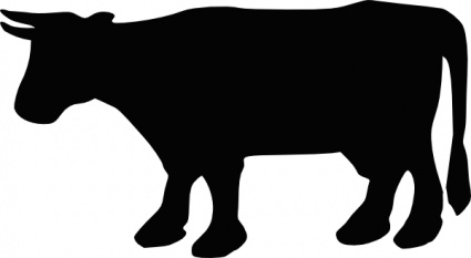 Cow Silhouette clip art free vector.