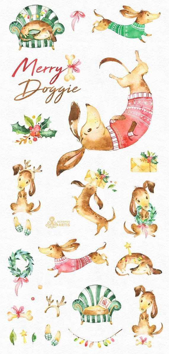 Merry Doggie. Christmas watercolor clipart , dachshund, dog.