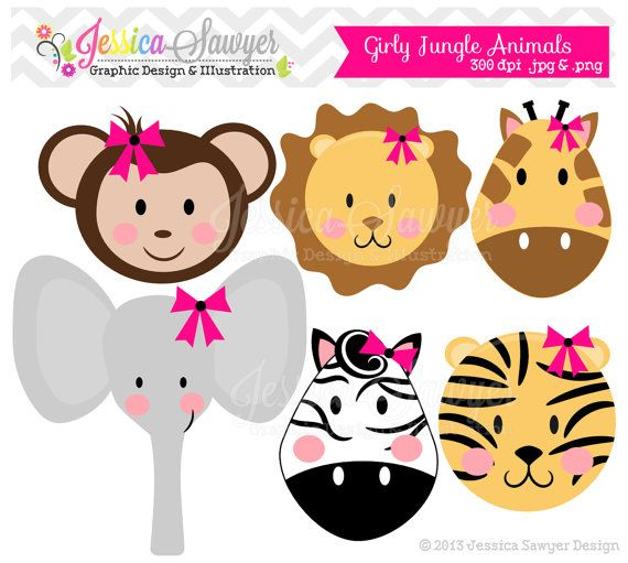 INSTANT DOWNLOAD, girls jungle animal clipart, girly jungle.
