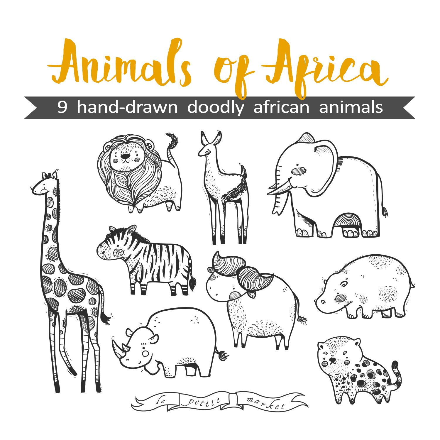 Hand Drawn Cute Animals of Africa Clipart Illustration in.