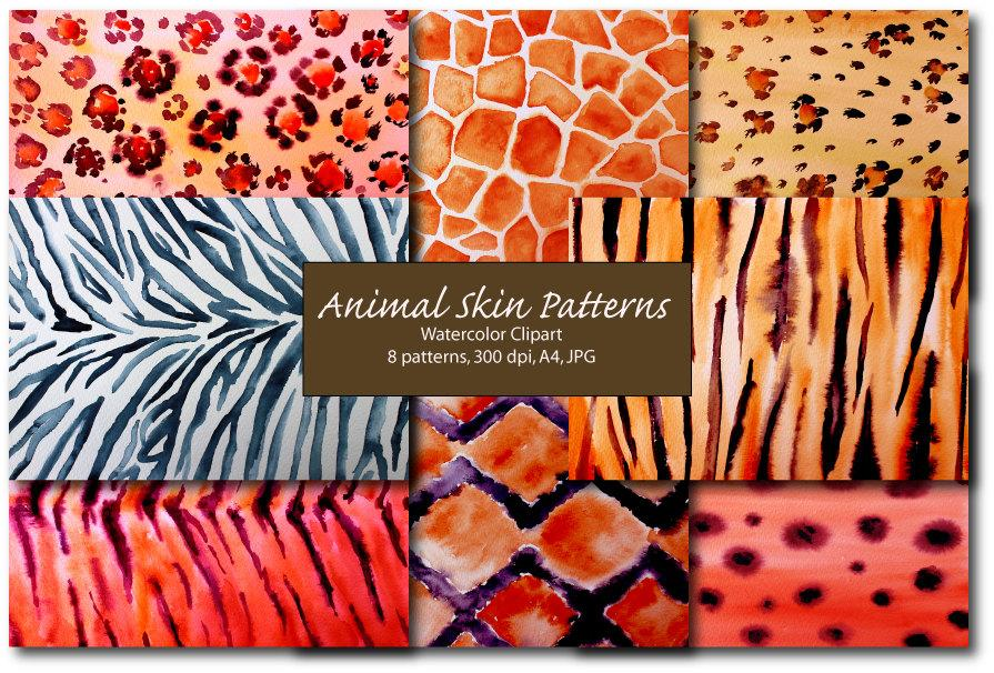 Watercolor animal skin patterns background abstract art digital download.