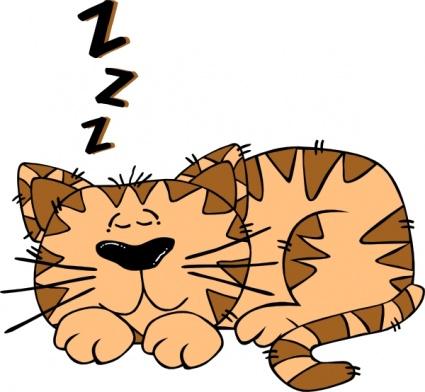 Cartoon Cat Sleeping clip art free vector.