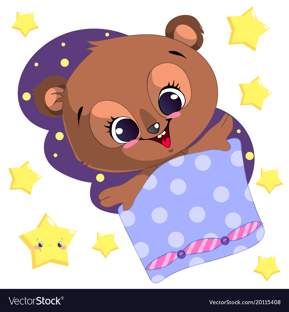 Sleeping cartoon bear clipart with moon and.