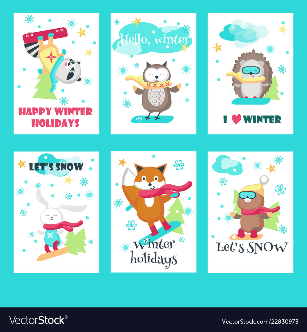 Set of cards with cute snowboarding animals.
