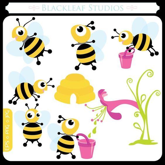 Springs Baby Busy Bees ORIGINAL digital clip art illustration set.