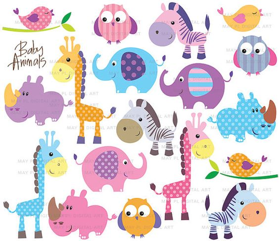 Safari Jungle Animal Clip Art Baby Zoo Animals Cute Clipart.