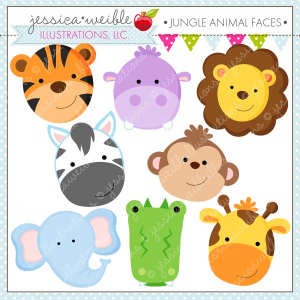 Jungle Animal Faces Cute Digital Clipart.