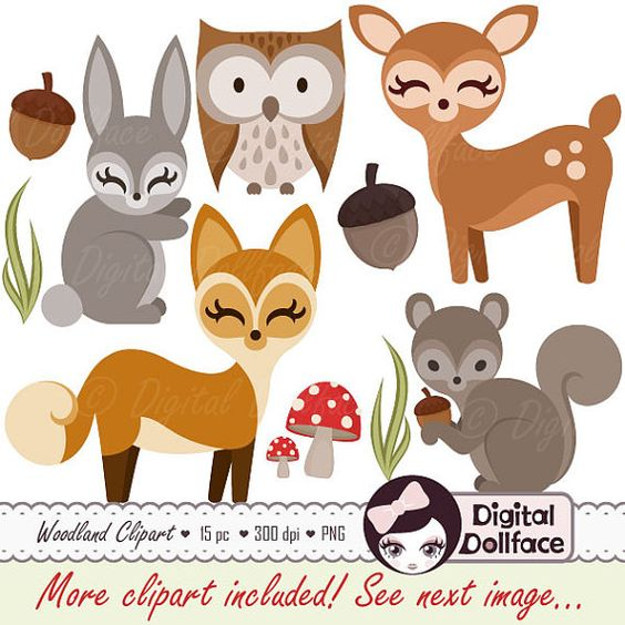 Woodland Forest Animal Clipart, Owl, Deer, Fox, Squirrel, Bunny.