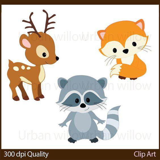WOODLAND ANIMALS Cli art, Animal Vectors, Cute deer, Clip Art.