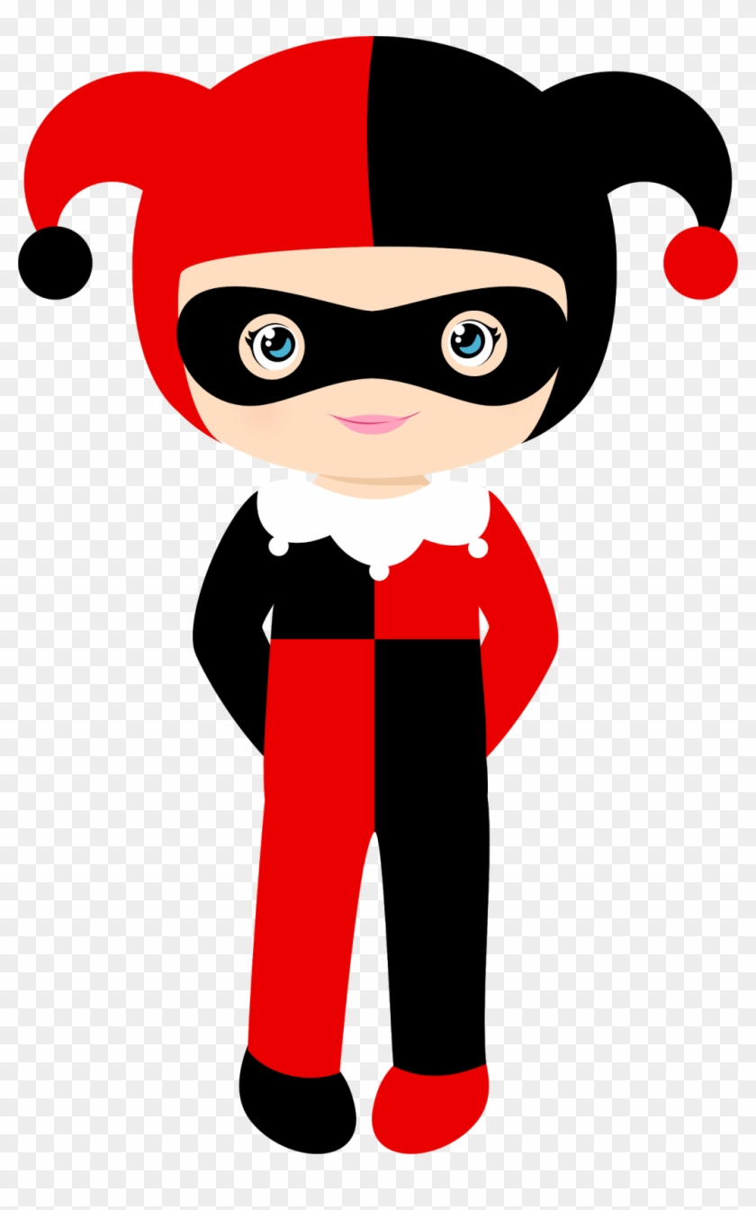 Harley Quinn Cute Superhero Clip Art.