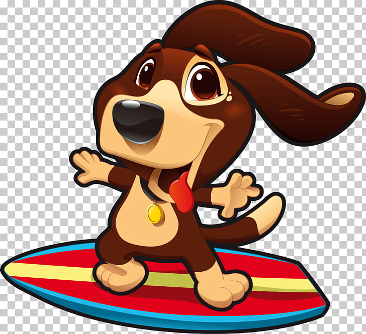 Dog surfing Dog surfing Puppy , cartoon dog surfing PNG.