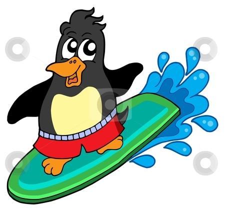 Surfing penguin stock vector.
