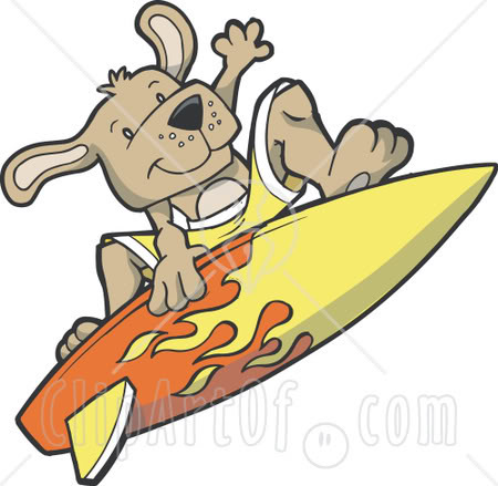 Dog Surfing Clipart.