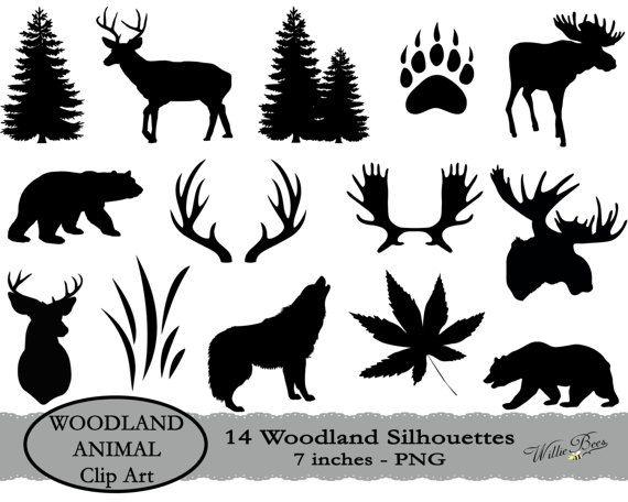 Deer SVG, Moose SVG, Woodland Animal SVG Clip Art, Black.