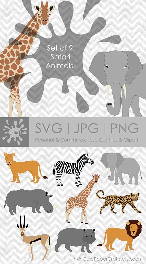 Safari Animal Clipart, African Safari Animals, Lion SVG.