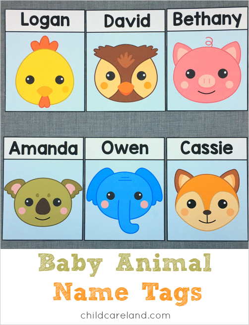 Baby animal name tags for cubbies  lockers  desks.