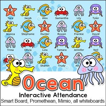 Ocean Theme Attendance with Optional Lunch Count for All.