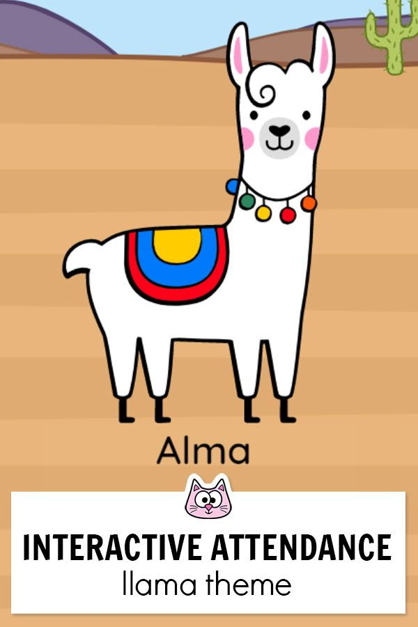 Llama Theme Attendance with Optional Lunch Count for.