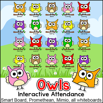 Owl Theme Attendance with Optional Lunch Count for Interactive Whiteboards.
