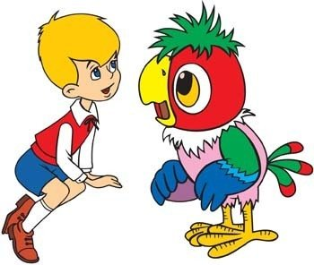 Boy talking with bird Clipart Graphic.