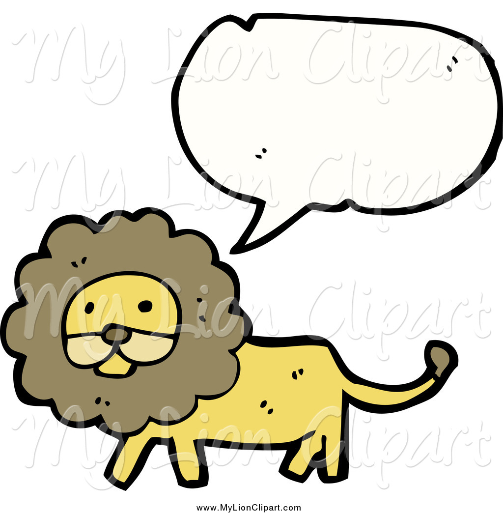 Clipart of a Talking Happy Lion by lineartestpilot.