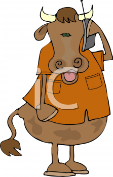 Cartoon Clipart Picture Of A Cow Talking On A Cell Phone.